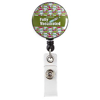 Covid 19 Fully Vaccinated Pills Green Retractable Badge Reel