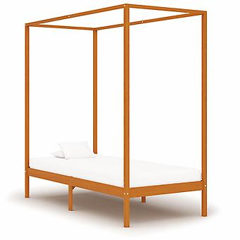 vidaXL four-poster bed frame honey brown solid wood pine 90 x 200 cm