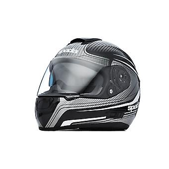 Spada SP16 Monarch Motorsykkel Hjelm Svart Sølv Hvit