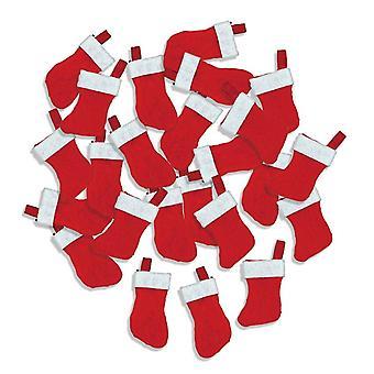 24 Mini 4.5cm Hanging Felt Christmas Stockings for Crafts & Decorations