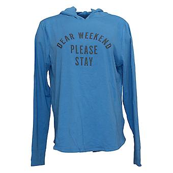 AnyBody Women's Hoodie Cozy Knit Luxe Message Blue A392536