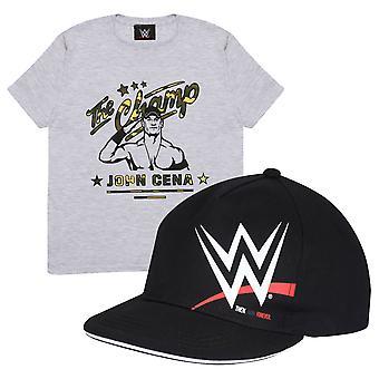 Oficjalny Kids WWE John Cena The Champ Camo T-Shirt & Snapback Cap Set Boys Girls