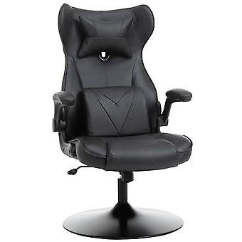 Vinsetto Swivel Video Game Chair Rocker Racing Style Office leisure Chair Ergonomic Rocking Office Chair with Pedestal Base, Adjustable Armrest and Headrest Black