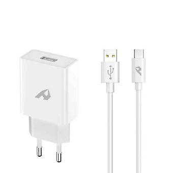 Wall Charger Home Red Enjoy 12V 18W USB A to USB C Cable White
