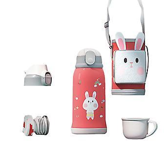 Swotgdoby Tragbare Kinder-Edelstahl-Thermoskanne, 550ml, mit einem Taschenbecherhalter