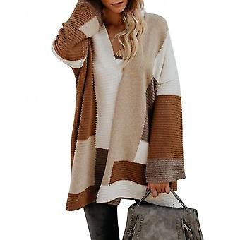 Sweater Cardigan Women's Large Size Loose Geometric Color Matching