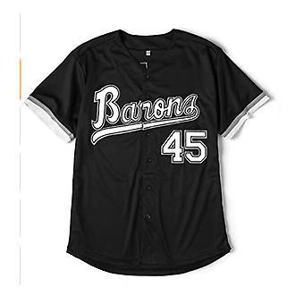 Hommes #45 Barons Baseball Jersey 90s Hip Hop Cousu Sports Fan Chemises Vêtements pour fête Noir / blanc Taille S-2xl