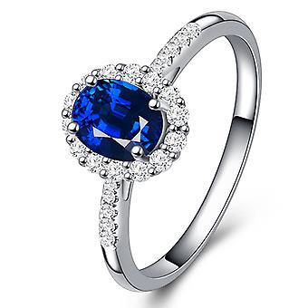 Blue Zircon Women Silver Ring