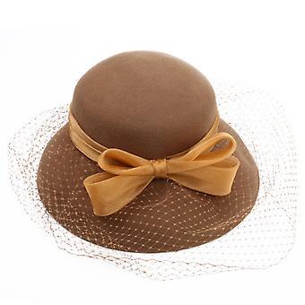 Chapéu de pescador de outono e inverno da bacia de lã feminina de moda europeia e americana retro top hat francês arco malha pescador chapéu de pescador