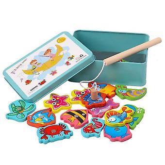 赤ちゃんの教育15pcs魚の木製磁気釣りおもちゃセットゲーム