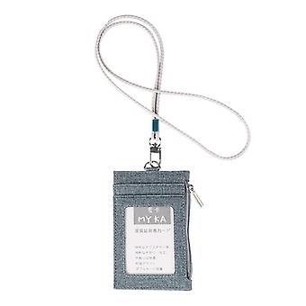גברים נשים מחזיק כרטיס ביקור ארנק עם כותנה פשתן שרוך שרוך צוואר רצועה עור מזויף תג מזהה תיק רוכסן ארנק