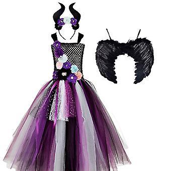 Yesfit マレフィセントガールズ ハロウィーン コスプレステージ パフォーマンスドレス