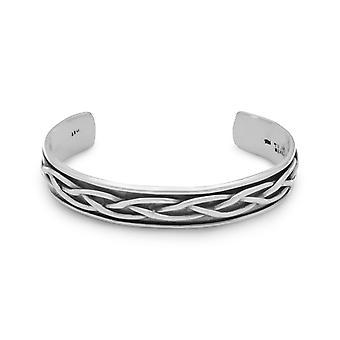 Oxidized 925 Sterling Silver Braided Mens Cuff Bracelet