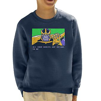 All Your Worlds Are Belong To Me Thanos Zero Wing Kid's Sweatshirt