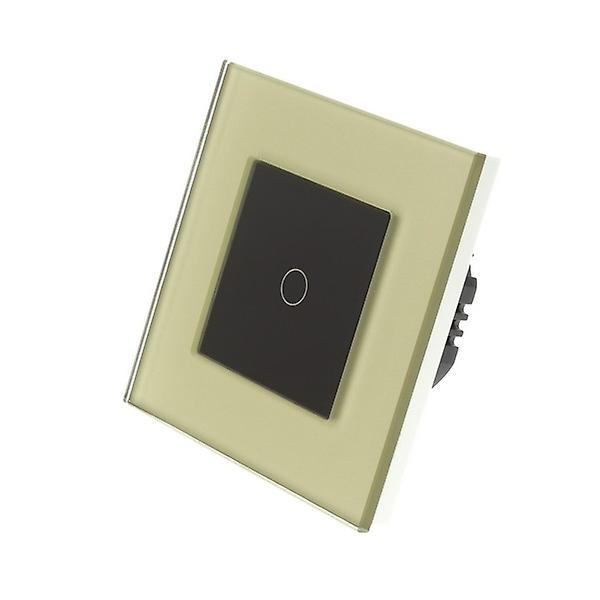 I LumoS Gold Glass Frame 1 Gang 1 Way WIFI/4G Remote & Dimmer Touch LED Light Switch Black Insert
