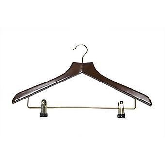 Caraselle Shaped Walnut Suit Hanger with Clips 45cm wide