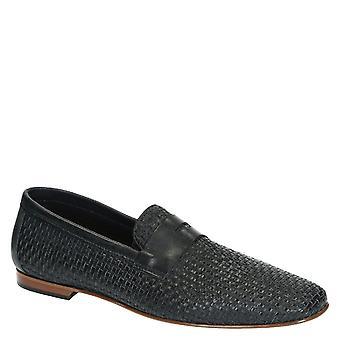 Bleu marine cuir tressé penny loafers chaussures