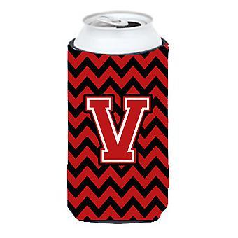 Letter V Chevron Black and Red   Tall Boy Beverage Insulator Hugger