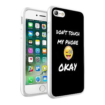 i-Tronixs Apple iPhone 8 Dont Touch My Phone Ok Design Printed Case Skin Cover - 055