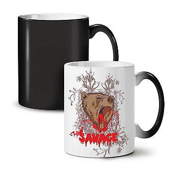 Savage Beast Bear NEW Black Colour Changing Tea Coffee Ceramic Mug 11 oz | Wellcoda