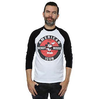 ديزني رجال & apos;ق ميكي ماوس رمز الأمريكية طويلة الأكمام قميص البيسبول