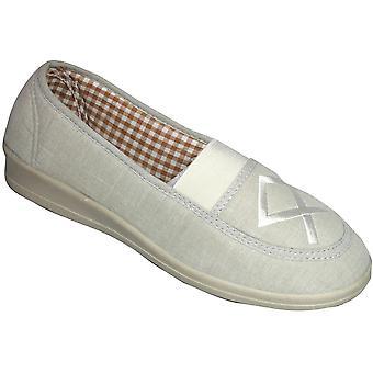Mirak damer Malt Slip på vadderade broderade duk sko Brown