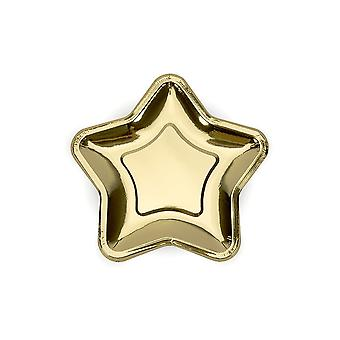 Gold Star liten canapé papir Party plater sett med 6 Party bryllup