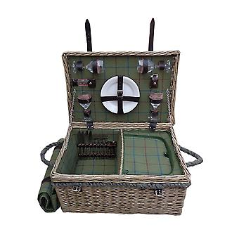 Lancaster Green Tweed Fitted Picnic Basket with Blanket