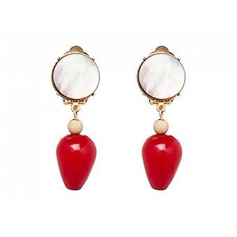 Gemshine örhängen Örhängen guldpläterad pärle mor Jade grå röd TROPFEN 3,5 cm