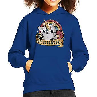 Cute Cat Call Me Unicorn Kid's Hooded Sweatshirt