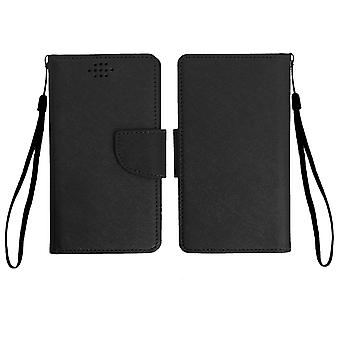 Universal Fancy style wallet case for phones with dimensions 162 x 81mm - Black