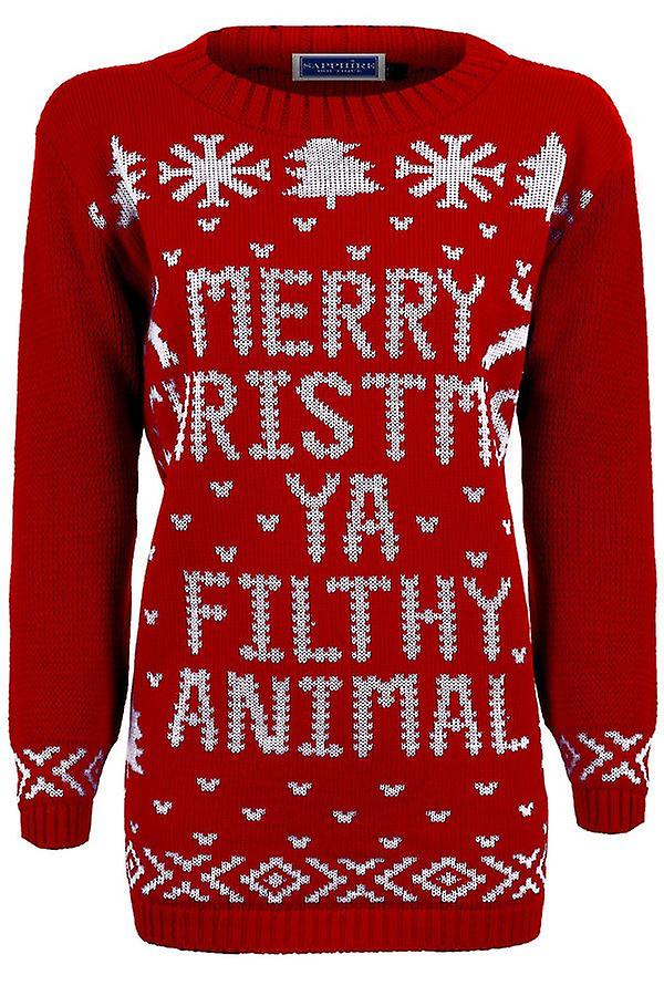 Ladies Oversized Happy New Year Christmas Filthy Animal Women's Knitted Jumper