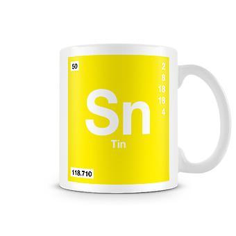 Wissenschaftliche bedruckte Becher mit Element Symbol 050 Sn - Zinn