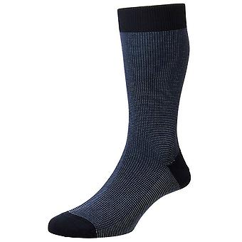 Pantherella Tewkesbury Birdseye Cotton Lisle Socks - Navy
