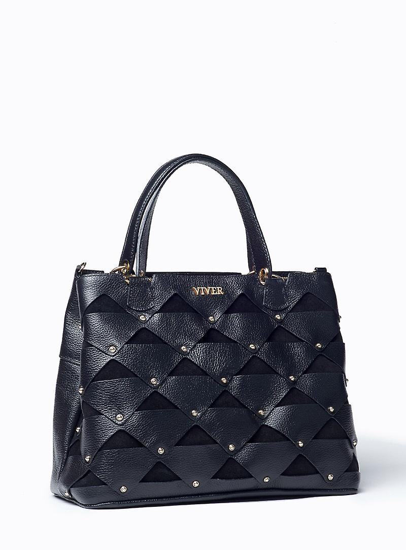VIVER Femme Black Leather Handbag
