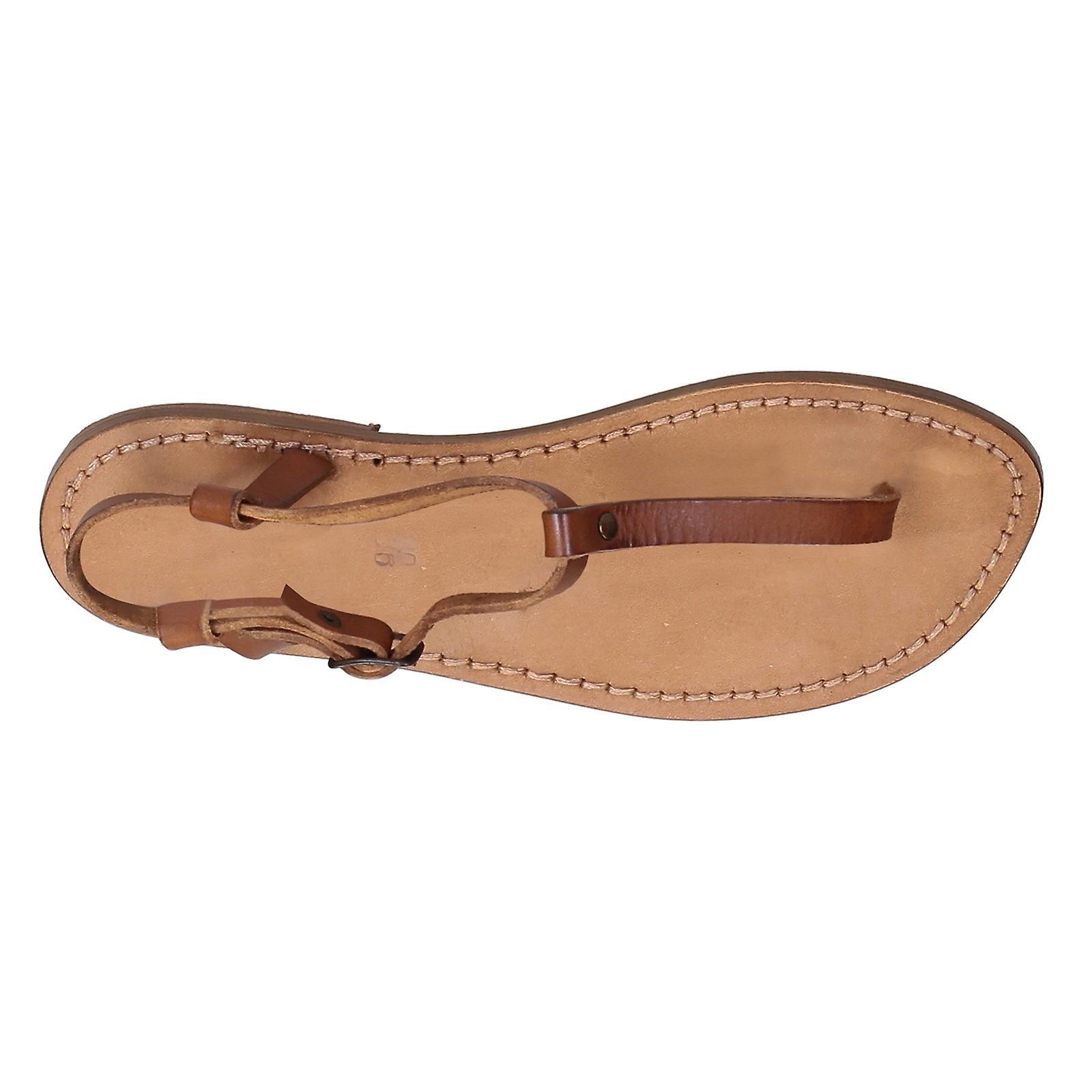T-strap thong sandalen in bruin leder handgemaakt in Italië WNsUHM