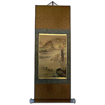 Asien maleri på rispapir, 97x36 cm landskab