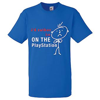 Mens I'd Rather Be On The Playstation Royal Blue Tshirt
