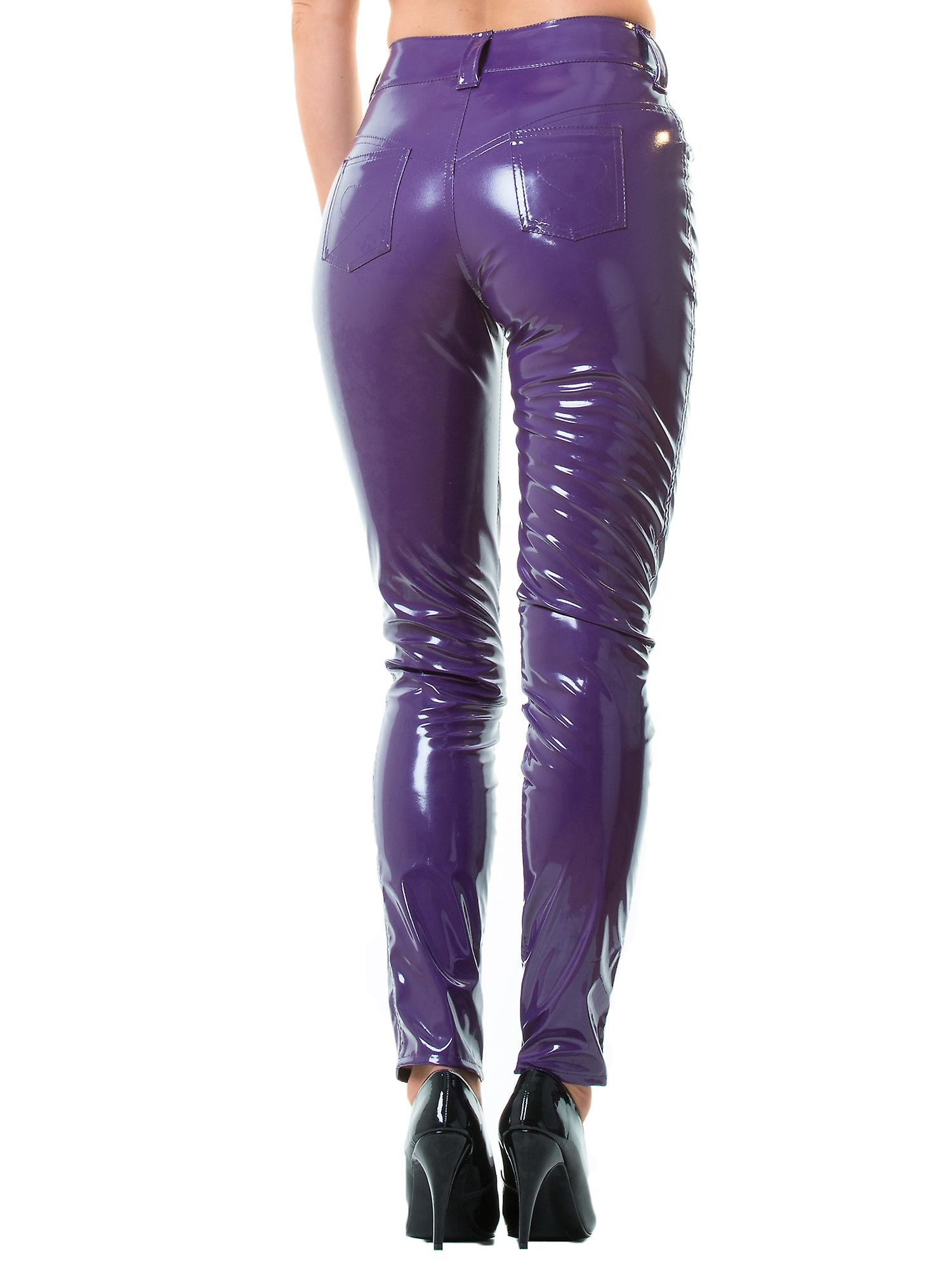 Honour Women's Sexy Trouser Jeans in PVC Purple Stitched Heart Details