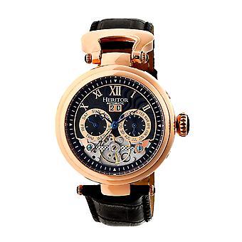 Heritor Automatic Ganzi Semi-Skeleton Leather-Band Watch - Rose Gold/Black