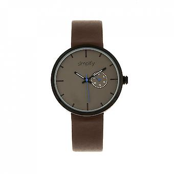 Simplify The 3900 Leather-Band Watch w/ Date - Dark Brown