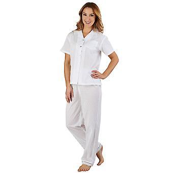 Slenderella PJ3233 kvinders bomuld vævet hvid pyjamas pyjamas sæt