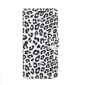 Samsung Galaxy S10 + funda de cartera Leopard-White