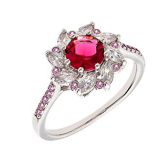 Bertha Juliet Collection Women's 18k WG Plated Red Flower Fashion Ring Size 8