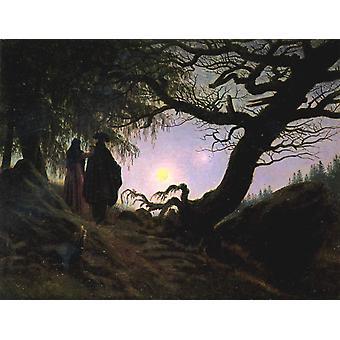 Homme et femme contemplant le, Caspar David Friedrich, 33x44cm