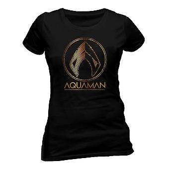 T-Shirt da donna con simbolo metallico Aquaman Movie