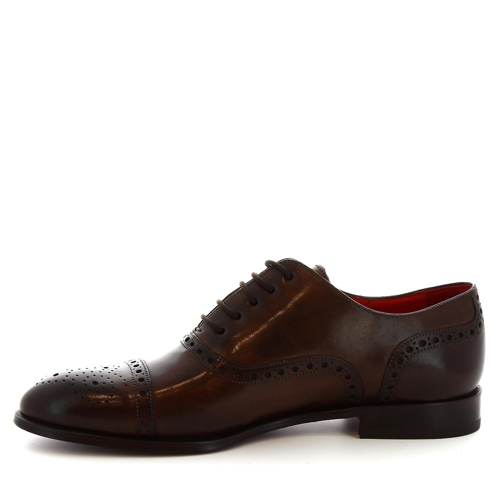Leonardo Shoes 8636e19tomvitellodelavetmoro Men's Brown Leather Lace-up Shoes XZPf2b