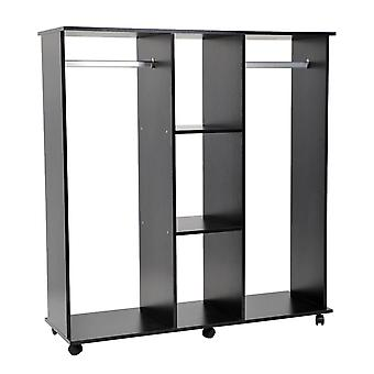 HOMCOM Double Mobile Open Wardrobe With Clothes Hanging Rails Storage Shelves Organizer Bedroom Furniture New