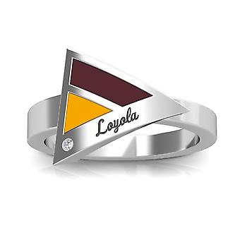 Loyola University Chicago Engraved Sterling Silver Diamond Geometric Ring In Maroon and Yellow