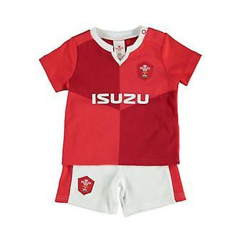 Walia WRU Rugby Baby /Toddler T-shirt & Szorty Zestaw | Czerwony | Sezon 2019/20